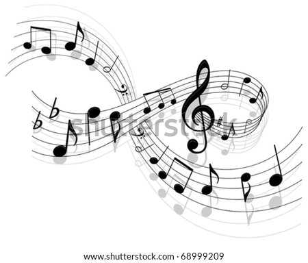 Notes with music elements as a musical background design. Jpeg version also available in gallery - stock vector