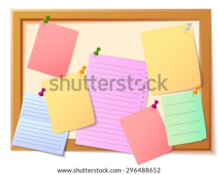Notice board filled with various stationary items - stock vector