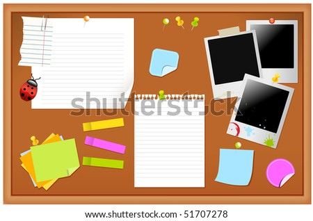 Notice board filled with various stationary items, easy edit - stock vector