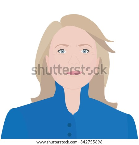 November 23, 2015: A vector illustration of a portrait of Candidate for President of the United States Hillary Clinton - stock vector