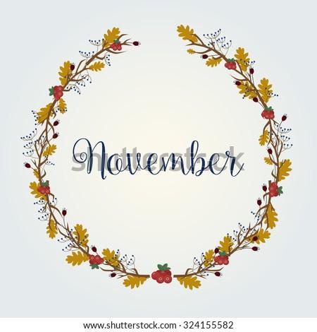 November - Autumn / Fall illustration - vector background eps10 - stock vector
