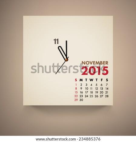 November 2015 Calendar Clock Design Vector  - stock vector