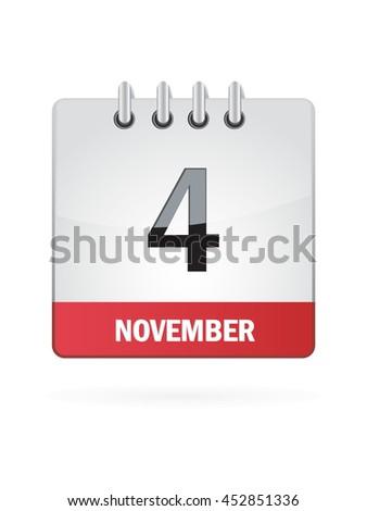 November Four. Calendar Icon - stock vector