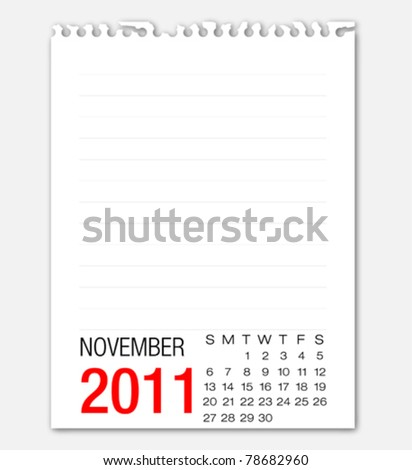 November month calendar 2011 on note paper