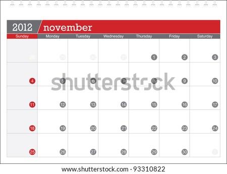 november 2012-planning calendar - stock vector