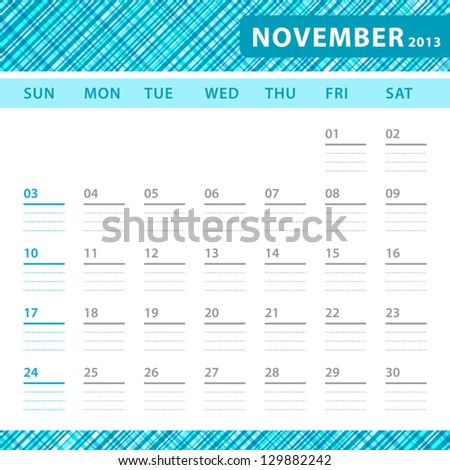 November 2013 planning calendar with space for notes. Checked blue texture in background.