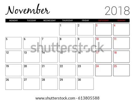 november 2018 printable calendar