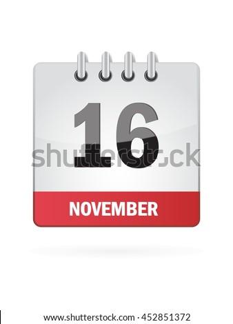 November Sixteen. Calendar Icon - stock vector