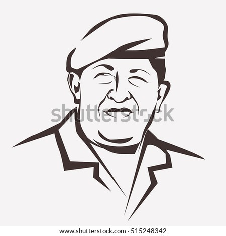 November 14, 2016: Stylized vector portrait of Hugo Chavez, national leader of Bolivia symbol