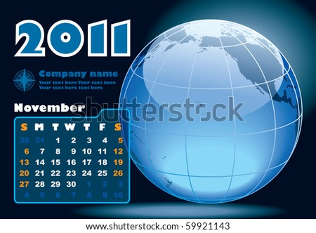 November - the Earth blue calendar for 2011, weeks starts on Sunday - stock vector