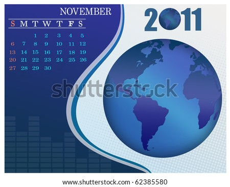 November - the Earth blue calendar for 2011, weeks starts on Sunday. Business Calendar. - stock vector