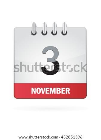 November Three. Calendar Icon - stock vector