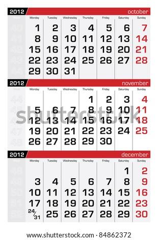 November 2012 Three-Month Calendar - stock vector
