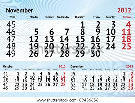 November 2012 three months calendar - stock vector