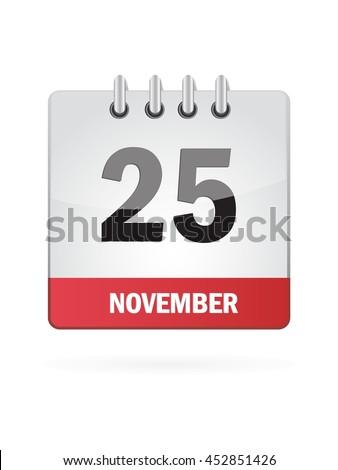 November Twenty Five. Calendar Icon - stock vector
