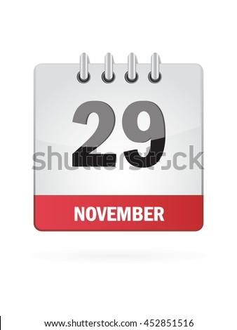 November Twenty Nine. Calendar Icon - stock vector