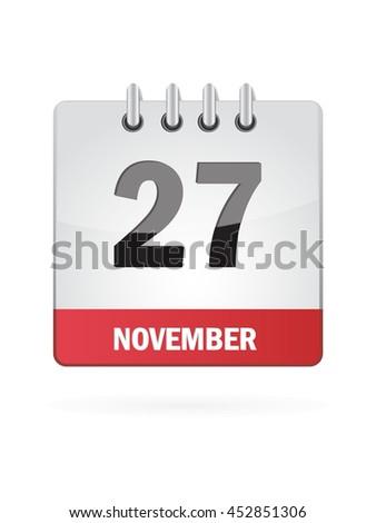 November Twenty Seven. Calendar Icon - stock vector