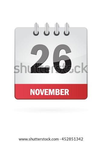 November Twenty Six. Calendar Icon - stock vector