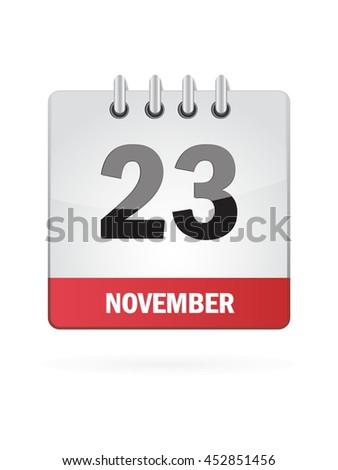 November Twenty Tree. Calendar Icon - stock vector