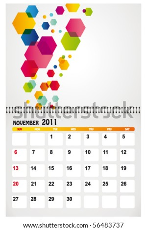 november 2011 with background - stock vector