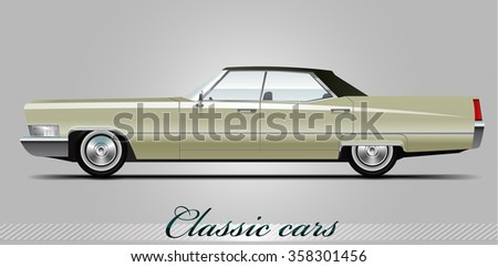 NOVI SAD, SERBIA - JANUARY 04, 2016: Vector illustration of Cadillac DeVille 1967,  eps10, vector, illustrative editorial - stock vector