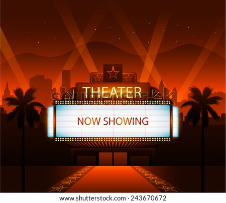 Now showing vector theater movie banner sign - stock vector