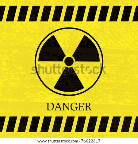 Nuclear danger warning sign on the splotchy background - stock vector