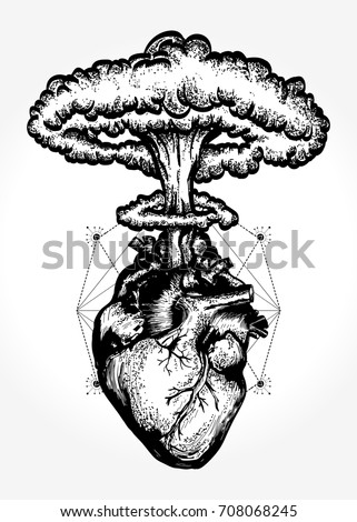 Stock Vector Nuclear Explosion Of Anatomical Heart T Shirt Design Surreal Graphic Heart And Nuclear Explosion