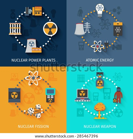 Nuclear fission in atomic energy power production 4 flat icons square composition banner abstract isolated vector illustration - stock vector