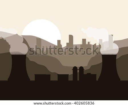 nuclear plant in colorful design, vector illustration