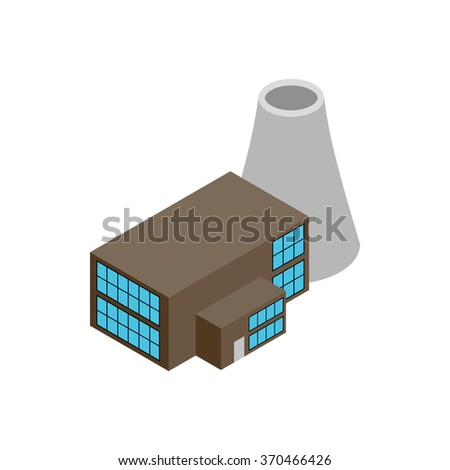 Nuclear power plant 3d isometric icon isolated on a white background - stock vector