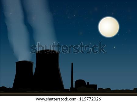 Nuclear power plant eps10 - stock vector