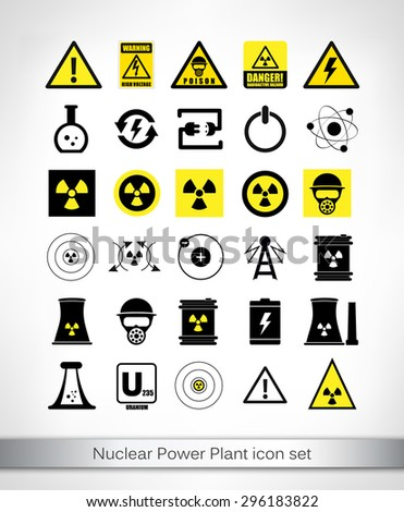 Nuclear Power Plant icon set. Vector illustration. - stock vector