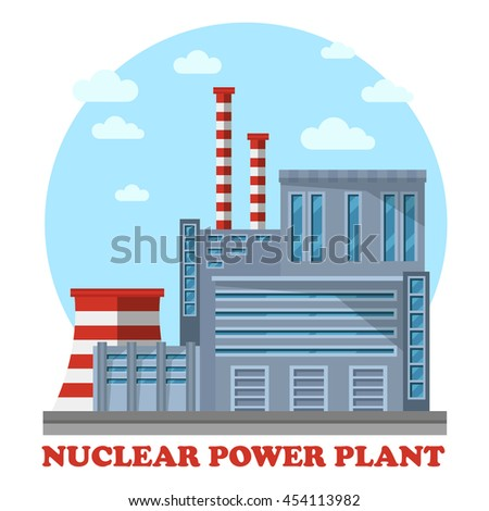 Nuclear power plant with reactor that makes electricity. Side view of steam turbine and tower for cooling water, chimney. Building for renewable and sustainable energy. - stock vector