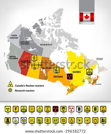 Nuclear power plants map of Canada 2. Nuclear Power technology pin icons and radioactive contamination signs. Highly detailed vector illustration. - stock vector