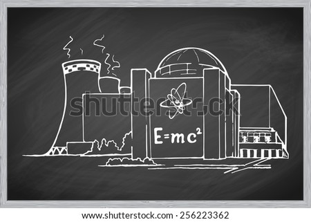 Nuclear power station as an example of relatively clean but potentially risky way of generating electricity. EPS10 vector illustration in a sketchy style imitating scribbling on the blackboard. - stock vector