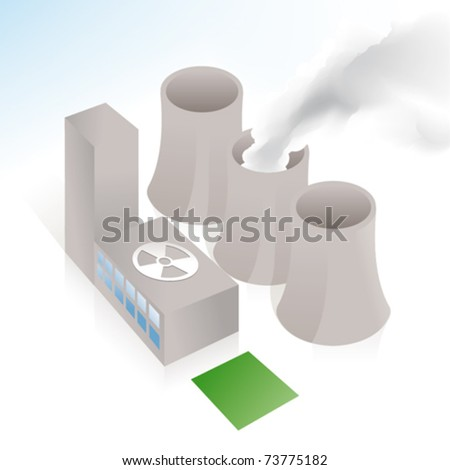 Nuclear power station in vector art - stock vector