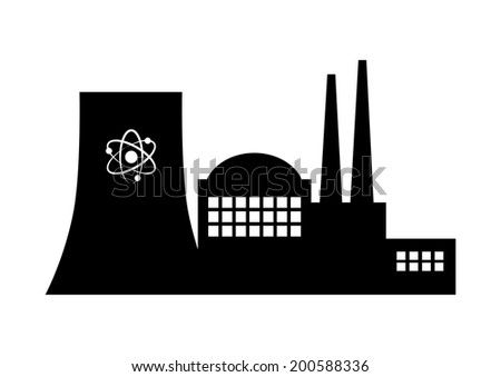Nuclear power station on white background - stock vector