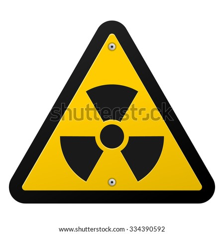 Nuclear Radiation Symbol - Radioactive sign in yellow colour isolated on white background - stock vector