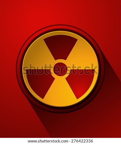 Nuclear Sign button on a Red Background, Vector Illustration.  - stock vector