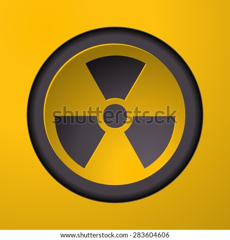 Nuclear Sign button on a Yellow Background, Vector Illustration. - stock vector