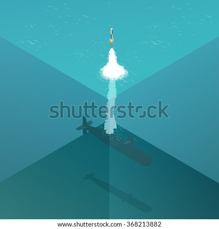 Nuclear submarine traveling underwater.Nuclear-powered submarines. Flat 3d isometric vector illustration for infographic.  - stock vector