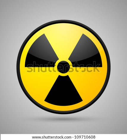 Nuclear symbol isolated on grey background