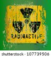 nuclear warning , grungy radiation sign - stock vector