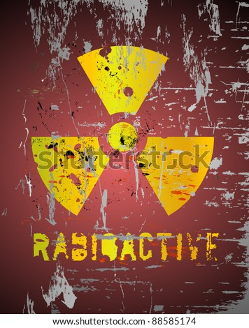 nuclear warning, grungy radiation sign - stock vector