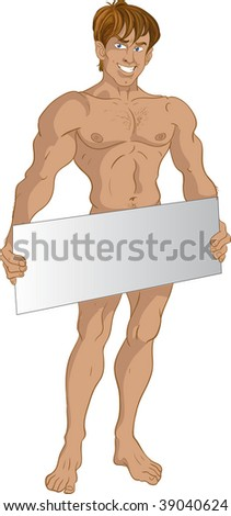 nude blond boy with text area - stock vector