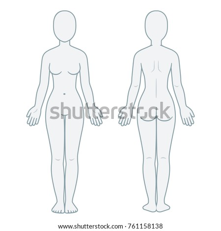 Nude Female Body Front Back View Stock Vector 761158138 - Shutterstock