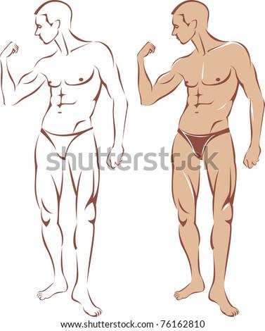 Nude man contour silhouette - stock vector