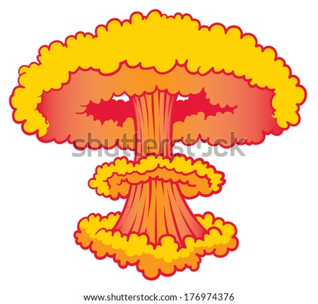 Nuke Explosion orange red  - stock vector