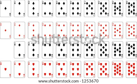 Number and aces from deck of playing cards (excluding ace of spades), rest of deck available.